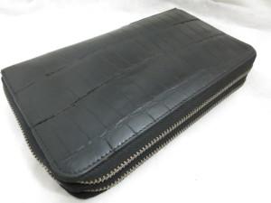 クロコダイル ダブルファスナー財布の染め直しコーティング修理事例