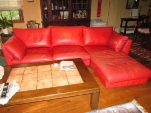 【sofa】アニリン仕上げカウチソファの染め直しのご依頼です。