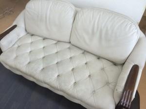 【FUJI FURNITURE】家具の富士 本革ソファセット クリーニングとスレ傷補修