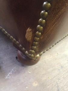 新宿 ソファー、鞄、バッグ、修理、張替、黒ずみ汚れ、クリーニング、色移り、すれ傷  ブラウン 21